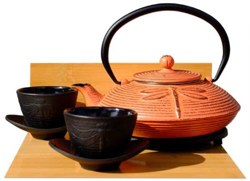 Cast Iron Sunset Red Dragonfly Tea set D - Tetsubin teapot kettle, trivet & cups  (black) X2